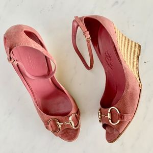 Gucci Suede Horsebit Wedges